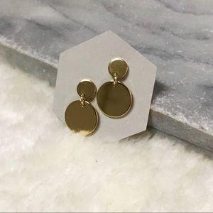 Zara Circle Drop Dangle Earrings Gold Finish NWOT